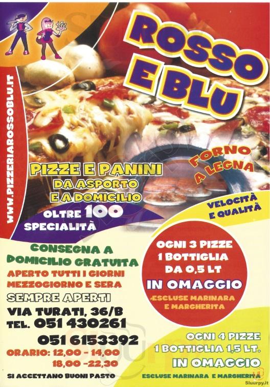 ROSSO E BLU Bologna menù 1 pagina