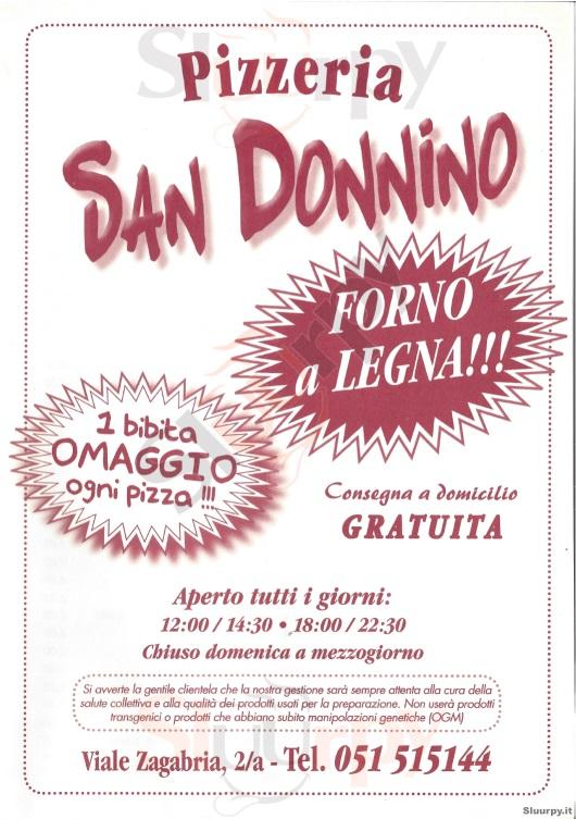 SAN DONNINO Bologna menù 1 pagina