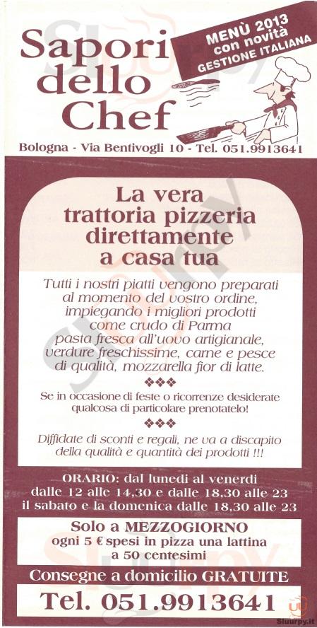 Sapori dello Chef Bologna menù 1 pagina