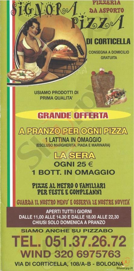 SIGNORA PIZZA Bologna menù 1 pagina