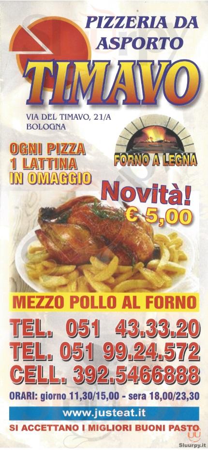 TIMAVO Bologna menù 1 pagina