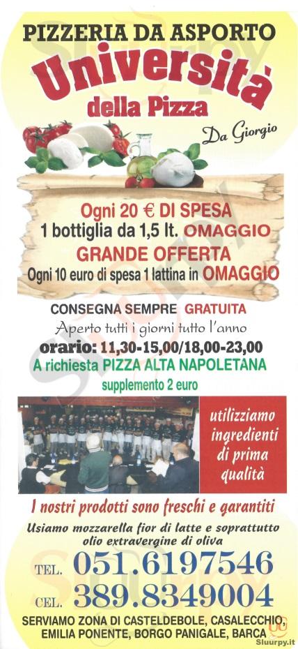 UNIVERSITA' DELLA PIZZA Bologna menù 1 pagina