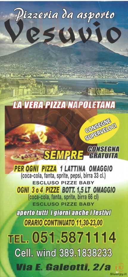 Vesuvio Bologna menù 1 pagina