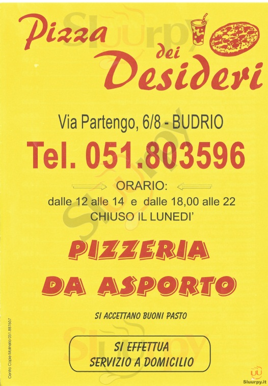 PIZZA DEI DESIDERI Budrio menù 1 pagina