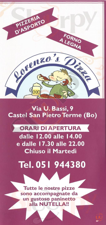LORENZO'S PIZZA Castel San Pietro Terme menù 1 pagina