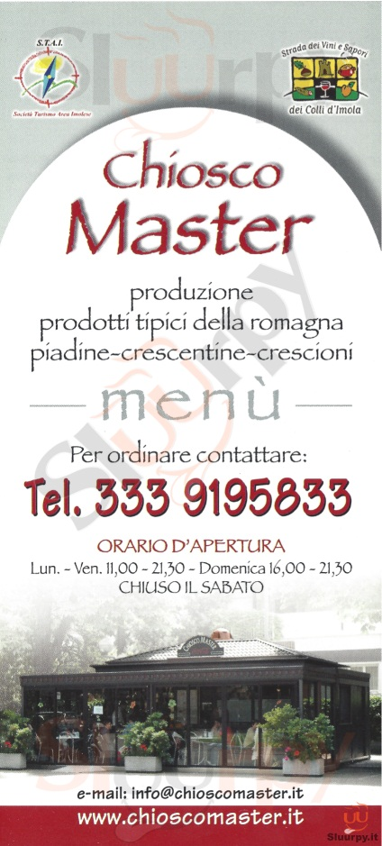 CHIOSCO MASTER Imola menù 1 pagina