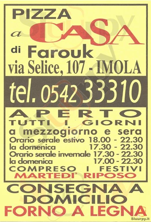PIZZA A CASA DI FAROUK Imola menù 1 pagina