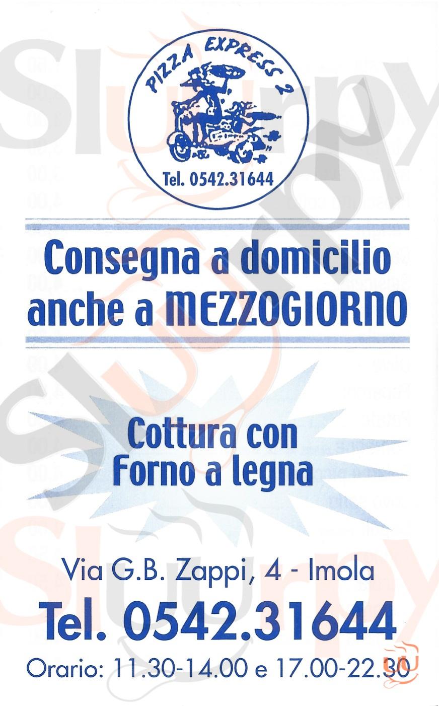 PIZZA EXPRESS 2 Imola menù 1 pagina