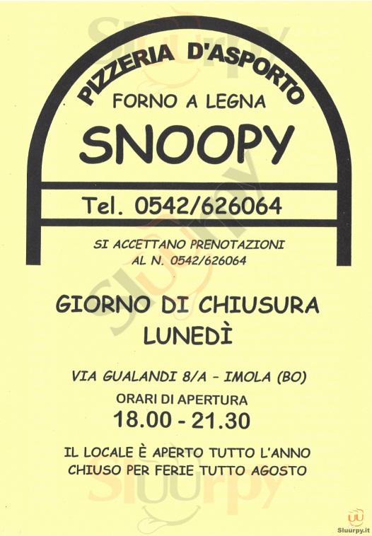 SNOOPY Imola menù 1 pagina