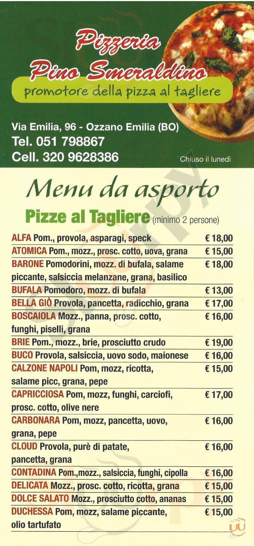 PINO SMERALDINO Ozzano dell'Emilia menù 1 pagina