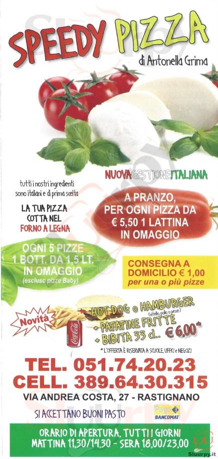 SPEEDY PIZZA Pianoro menù 1 pagina