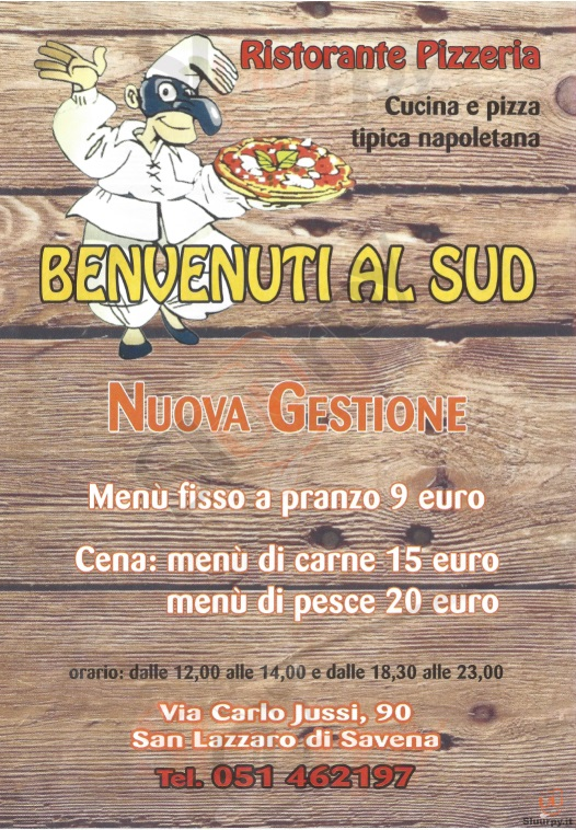 BENVENUTI AL SUD San Lazzaro di Savena menù 1 pagina