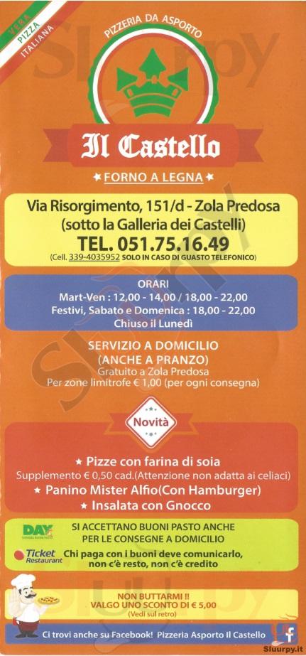 IL CASTELLO Zola Predosa menù 1 pagina