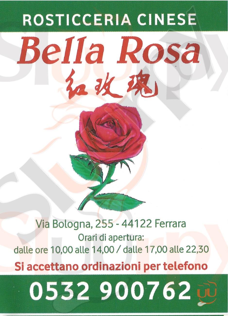 BELLA ROSA Ferrara menù 1 pagina