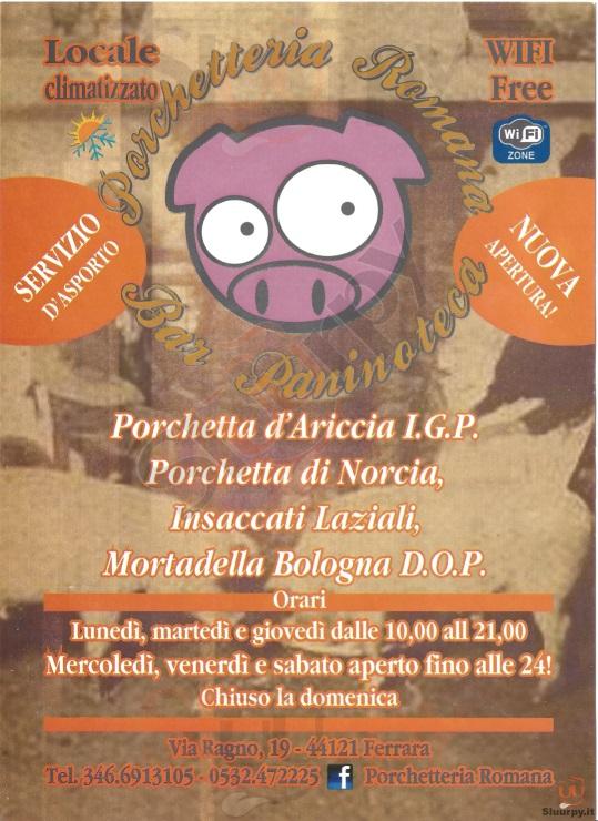 PORCHETTERIA ROMANA Ferrara menù 1 pagina