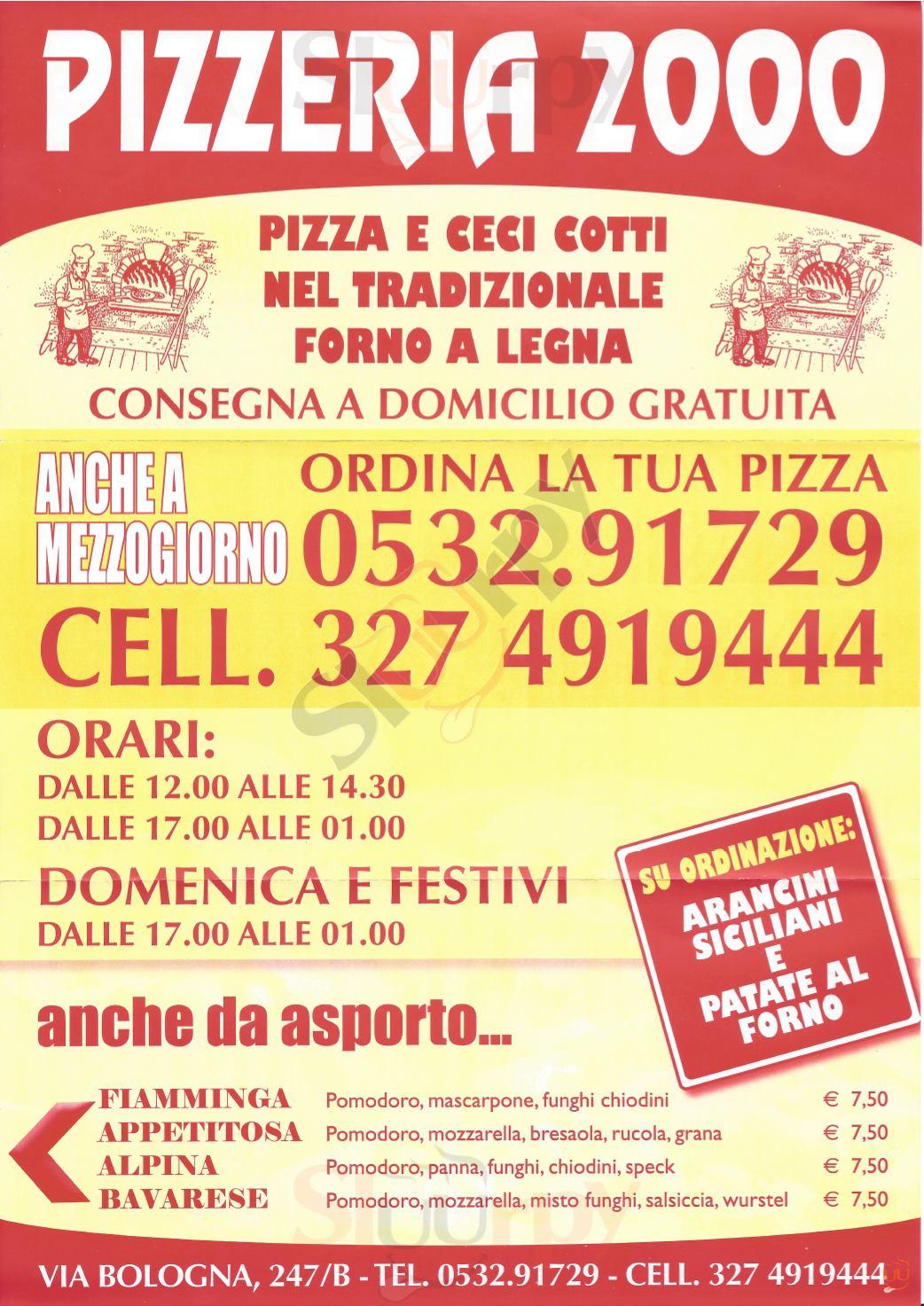 2000 Ferrara menù 1 pagina