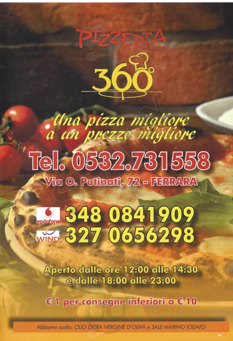 360 Ferrara menù 1 pagina