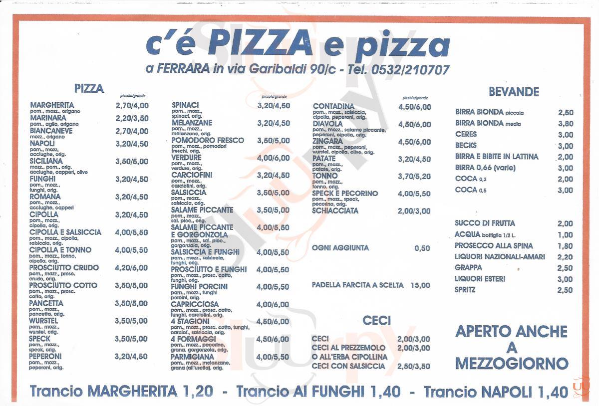 C'E' PIZZA E PIZZA Ferrara menù 1 pagina