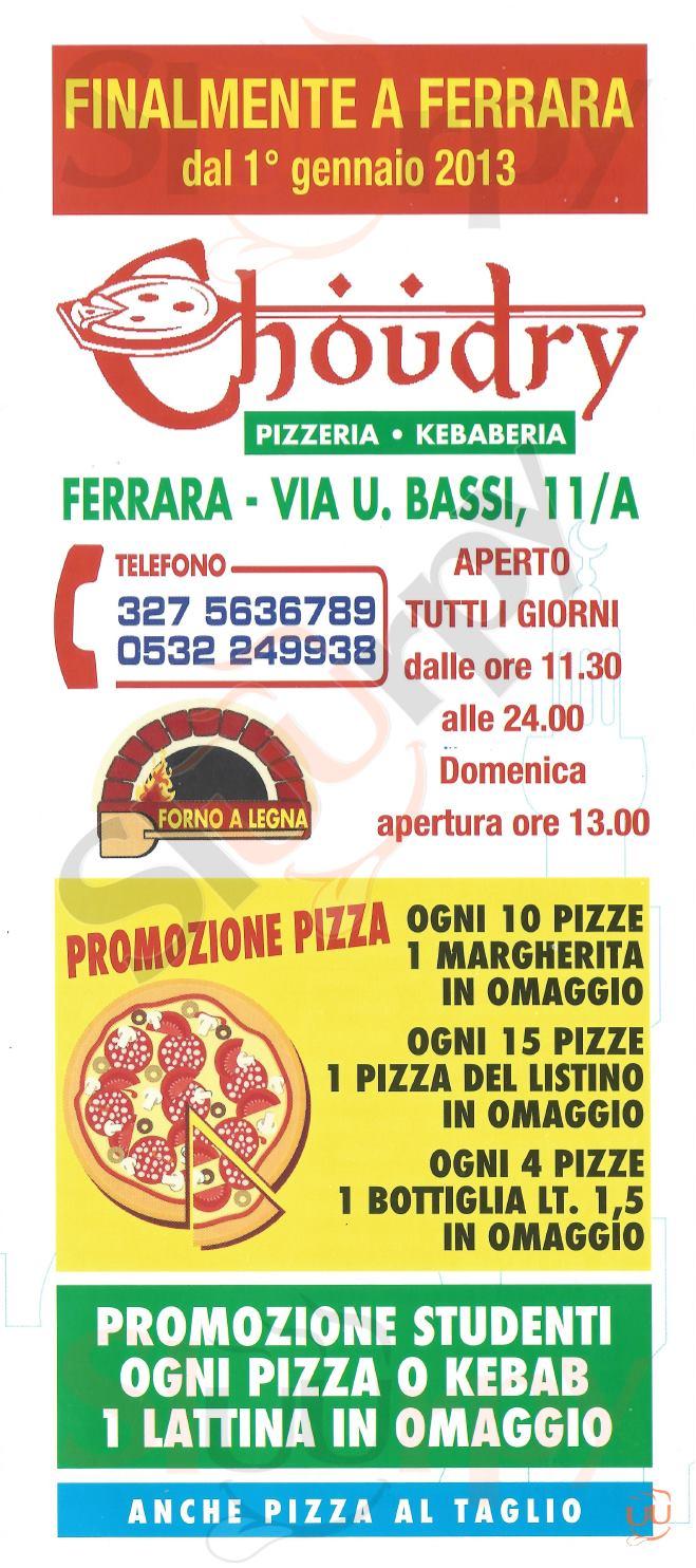 CHOUDRY Ferrara menù 1 pagina