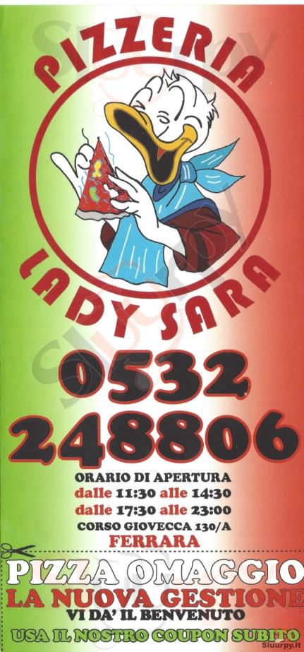 LADY SARA Ferrara menù 1 pagina