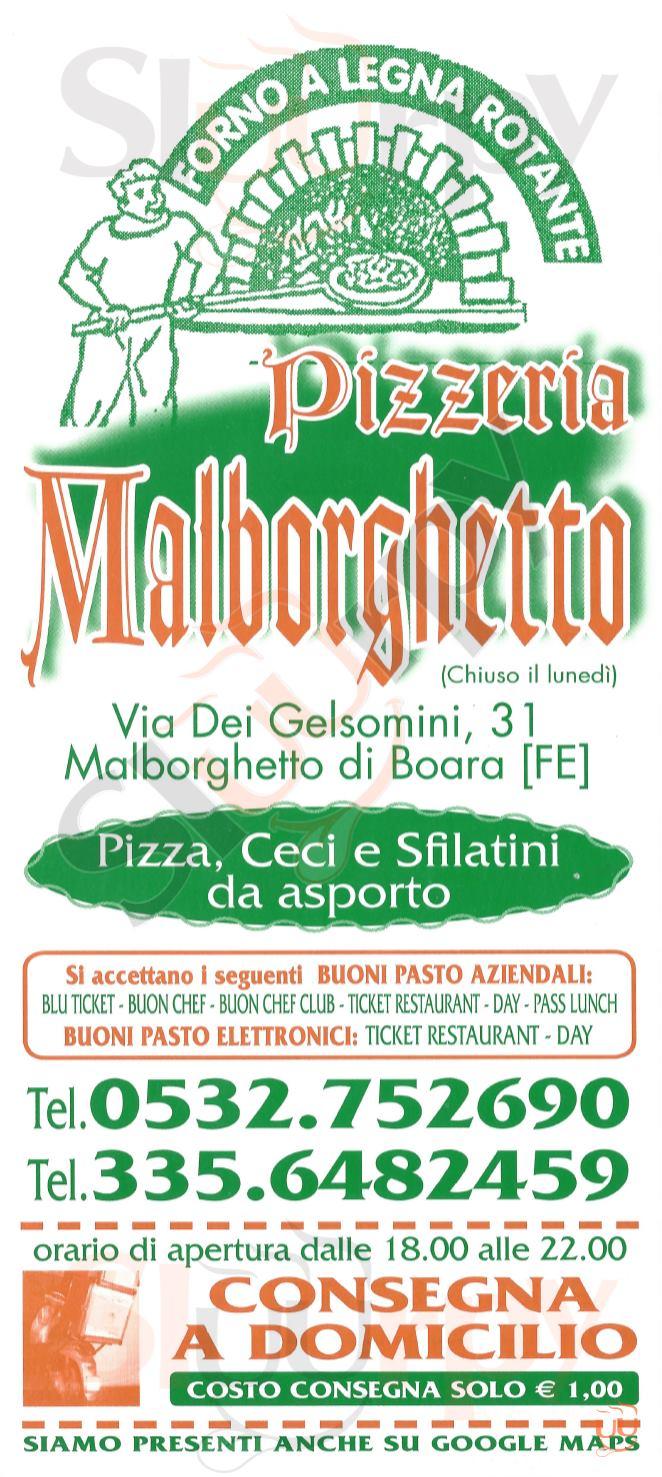 MALBORGHETTO Ferrara menù 1 pagina