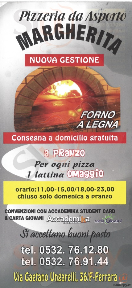 MARGHERITA Ferrara menù 1 pagina
