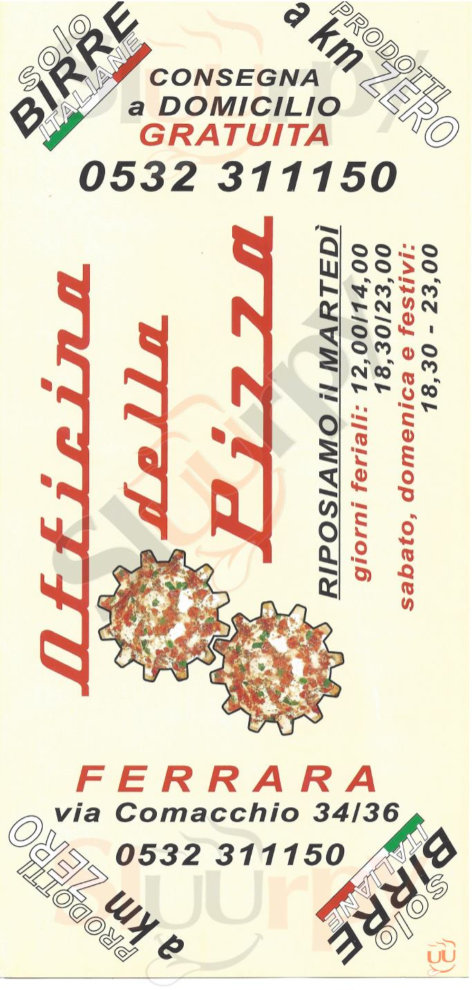 OFFICINA DELLA PIZZA Ferrara menù 1 pagina