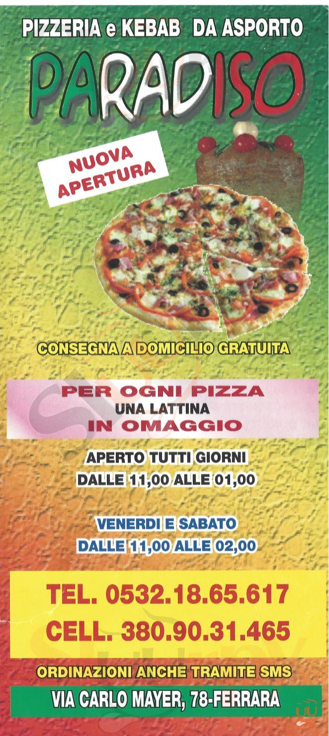 PARADISO Ferrara menù 1 pagina