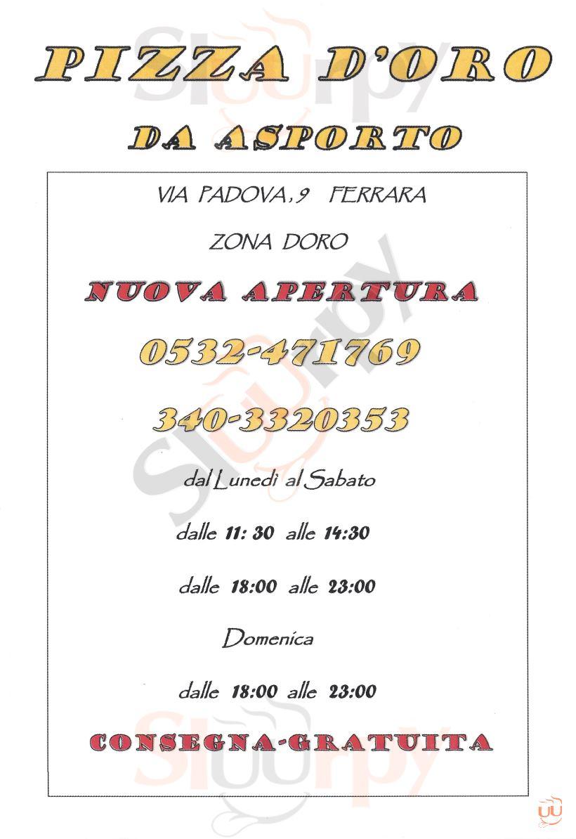 PIZZA D'ORO Ferrara menù 1 pagina