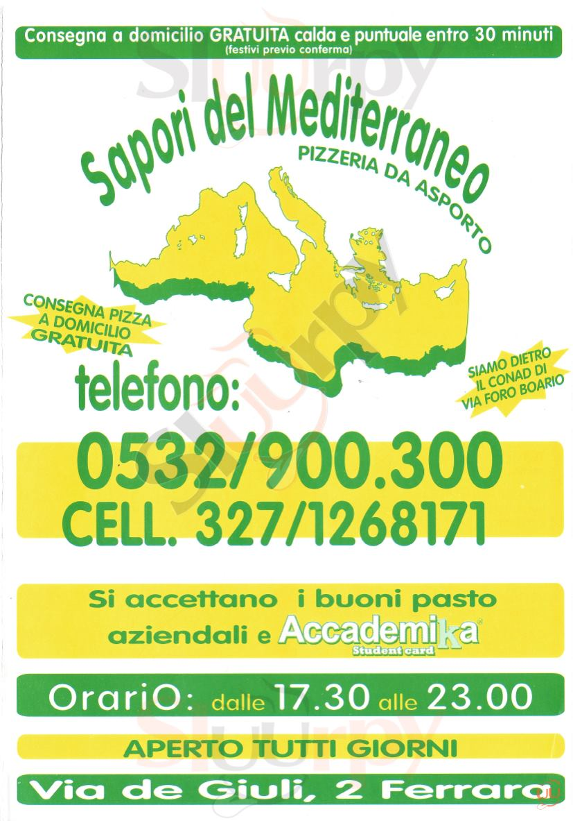 SAPORI DEL MEDITERRANEO Ferrara menù 1 pagina