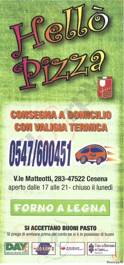 HELLO' PIZZA Cesena menù 1 pagina