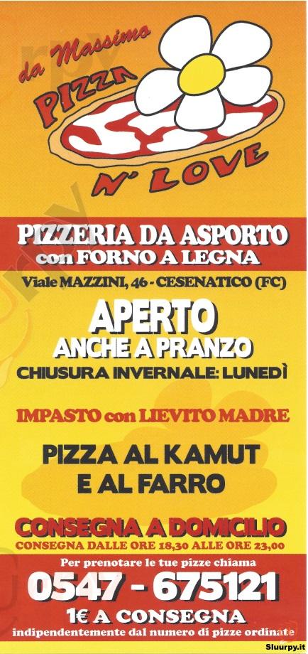 PIZZA N' LOVE Cesenatico menù 1 pagina