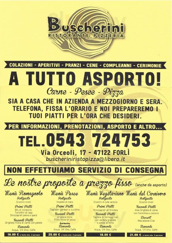 Buscherini Forlì menù 1 pagina