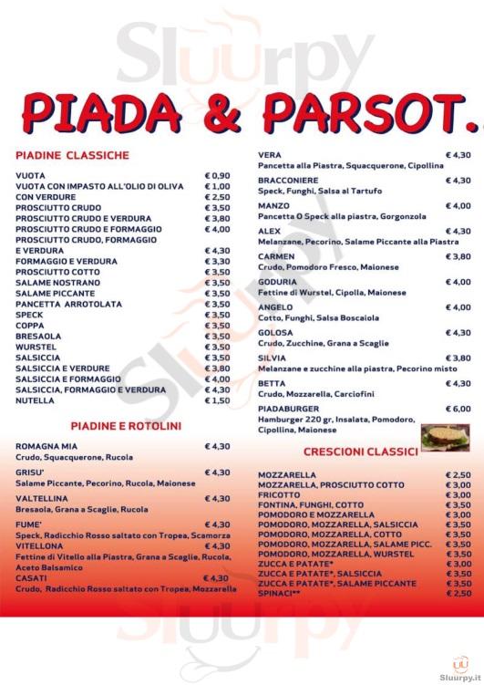 Piada e Parsot Forli' menù 1 pagina