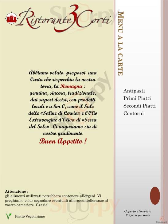 Ristorante 3 Corti Forli' menù 1 pagina