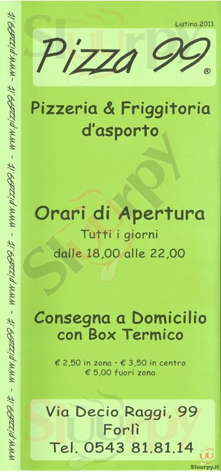 PIZZA 99 Forlì menù 1 pagina