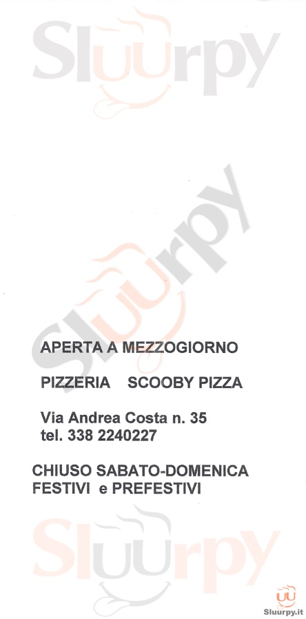SCOOBY PIZZA Forlì menù 1 pagina