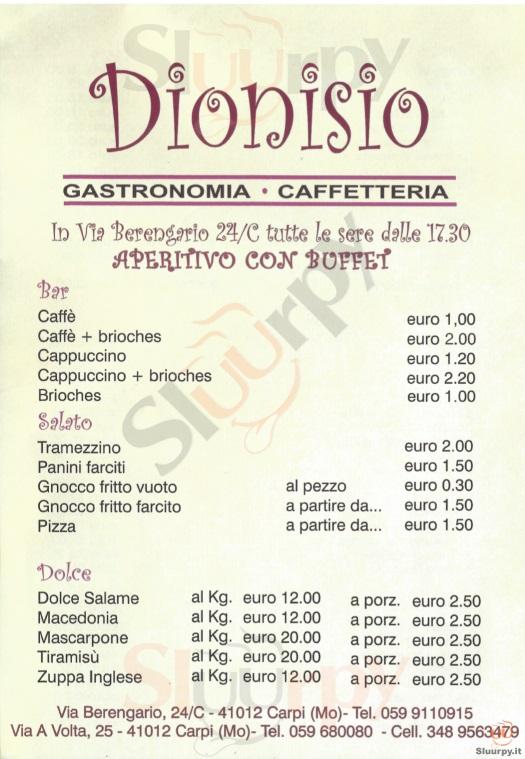 DIONISIO, Via Berengario Carpi menù 1 pagina