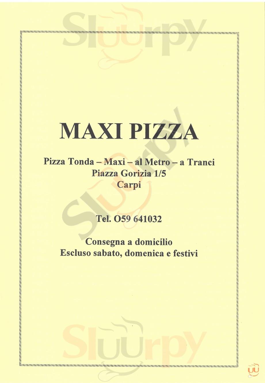 MAXI PIZZA Carpi menù 1 pagina