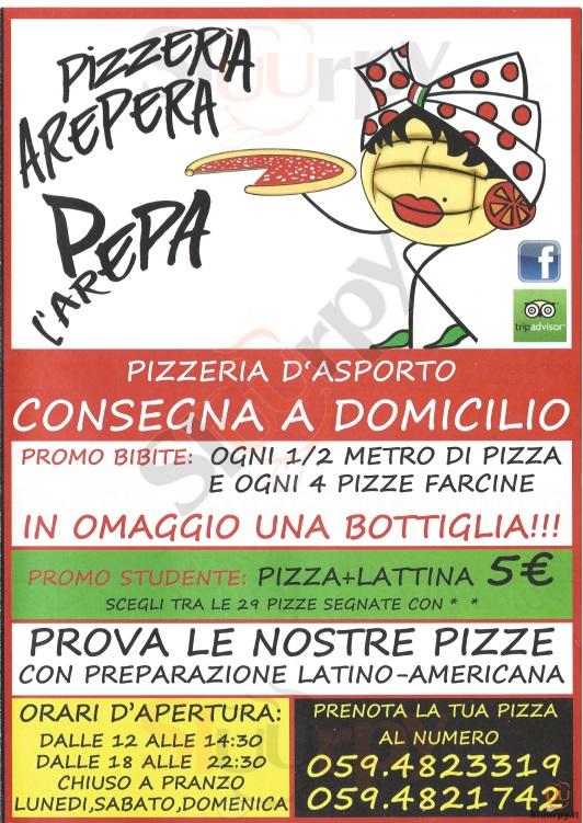 AREPERA Modena menù 1 pagina