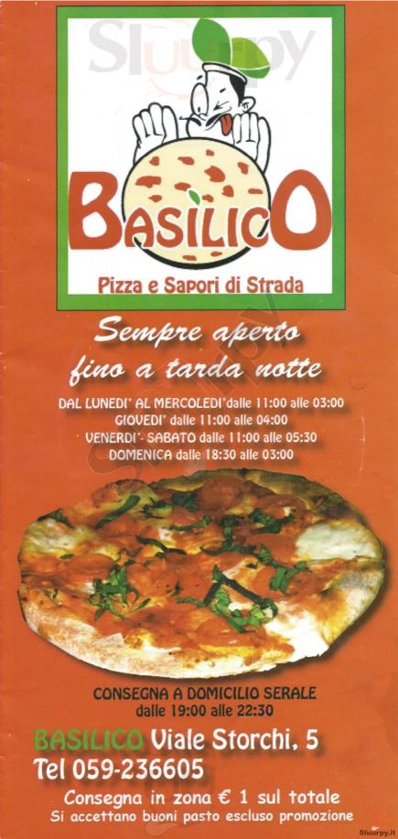 BASILICO, Viale Storchi Modena menù 1 pagina