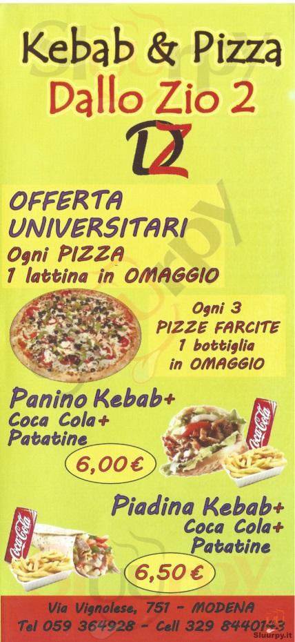 DALLO ZIO 2 Modena menù 1 pagina