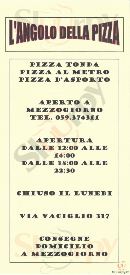 L'ANGOLO DELLA PIZZA Modena menù 1 pagina