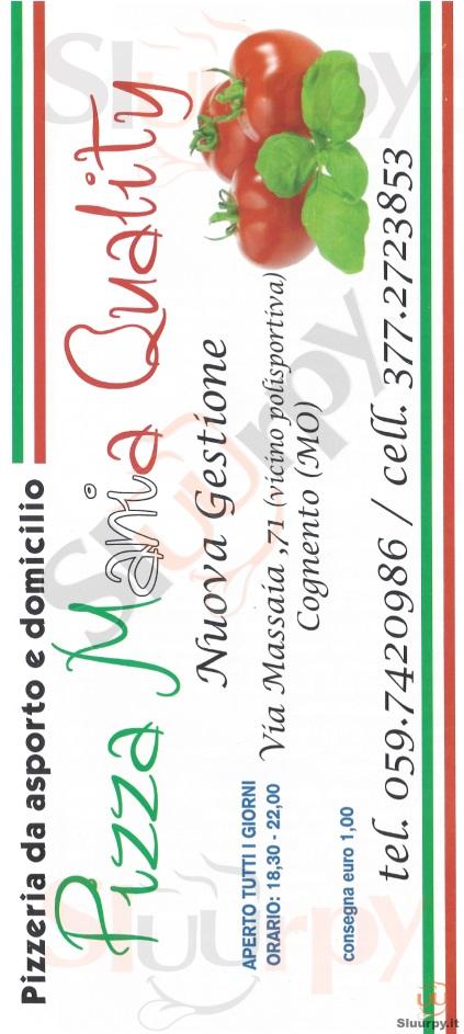 PIZZA MANIA QUALITY Modena menù 1 pagina