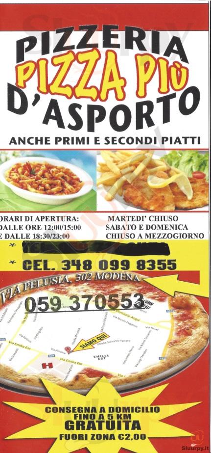 PIZZA PIU' Modena menù 1 pagina