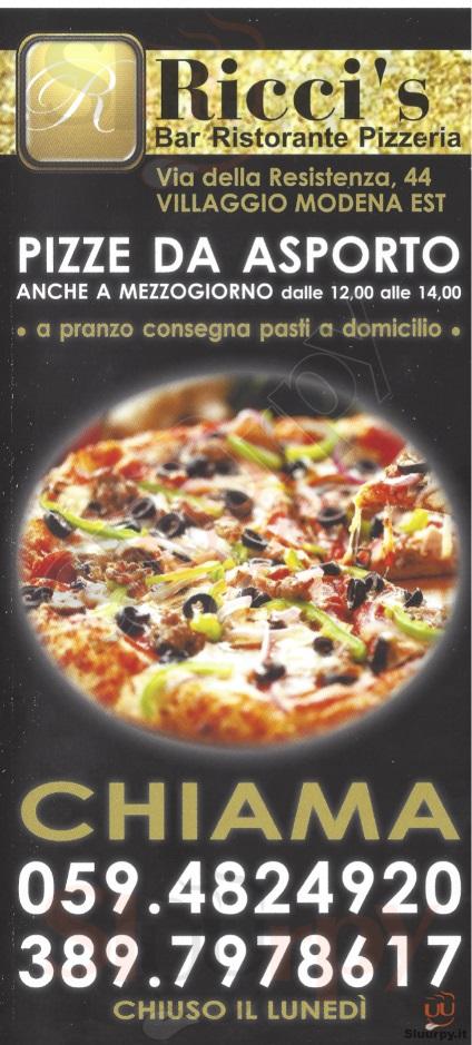 RICCI'S Modena menù 1 pagina