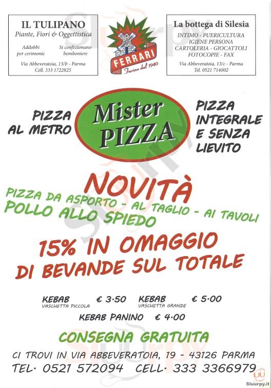 MISTER PIZZA Parma menù 1 pagina
