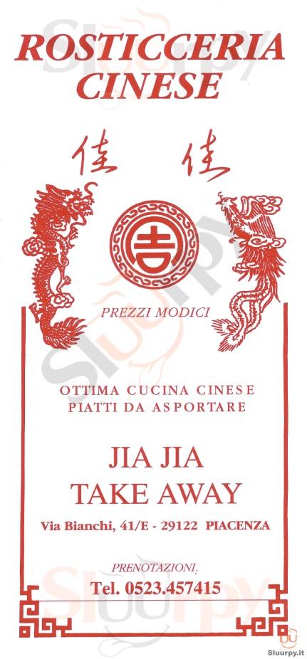 JIA JIA Piacenza menù 1 pagina