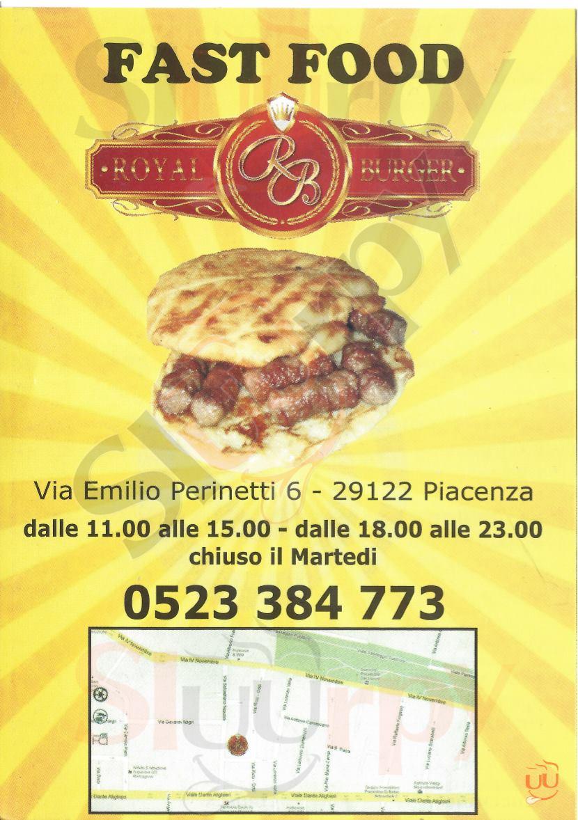 ROYAL BURGER Piacenza menù 1 pagina