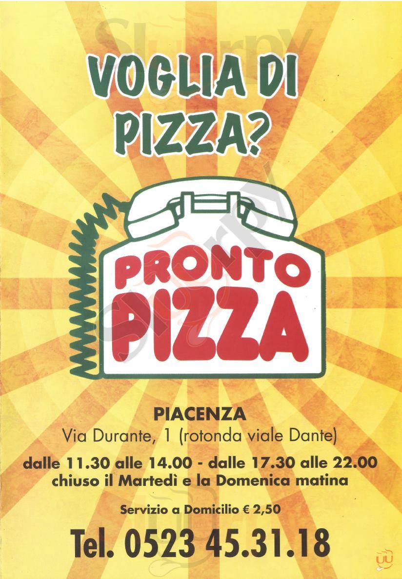 PRONTO PIZZA Piacenza menù 1 pagina